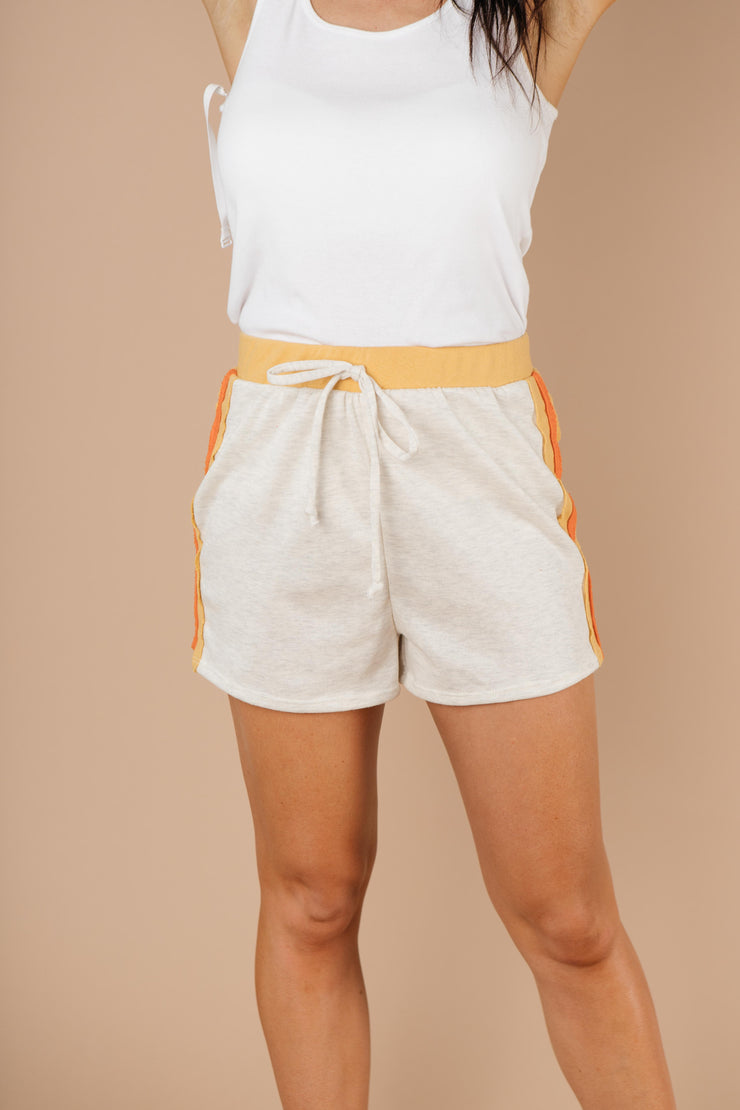 Sporty Stripe Shorts In Oatmeal - Simply Sass Boutique