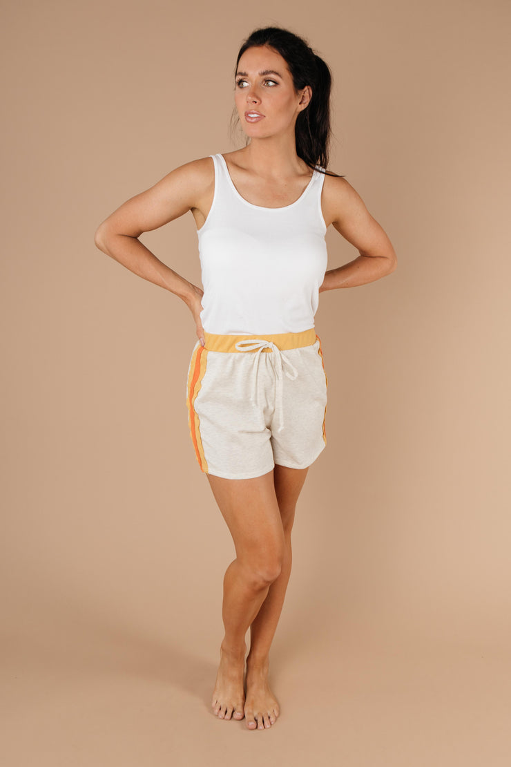 Sporty Stripe Shorts In Oatmeal - Women's Clothing AfterPay Sezzle KanCan Judy Blue Simply Sass Boutique