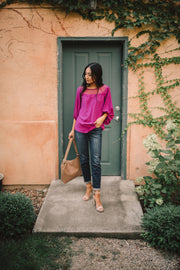 Straight Laced Blouse In Berry - Women's Clothing AfterPay Sezzle KanCan Judy Blue Simply Sass Boutique