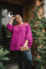 Straight Laced Blouse In Berry - Simply Sass Boutique