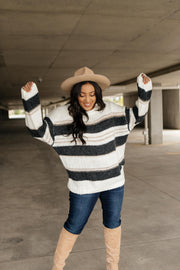 Straightforward Striped Sweater In Ivory and Black - Women's Clothing AfterPay Sezzle KanCan Judy Blue Simply Sass Boutique