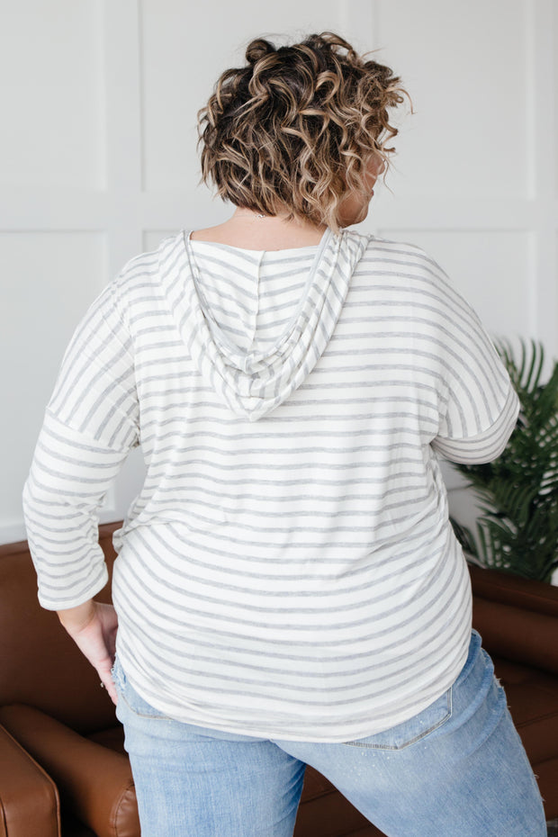 Stripes And A Hood Top - Simply Sass Boutique