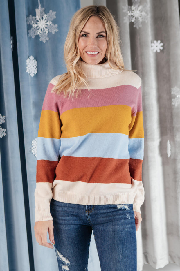 Stripes And A Turtle Neck Sweater - Women's Clothing AfterPay Sezzle KanCan Judy Blue Simply Sass Boutique
