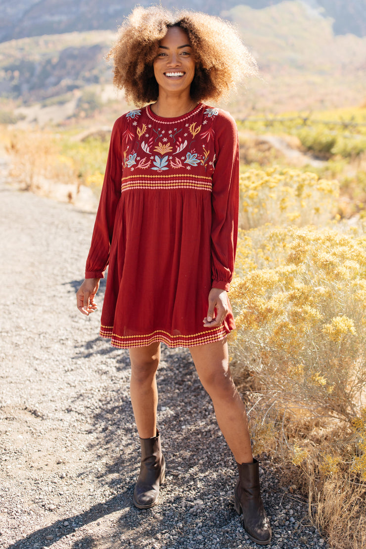 The Fall Embroidery Dress - Women's Clothing AfterPay Sezzle KanCan Judy Blue Simply Sass Boutique