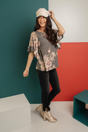 The Flirty Sleeve Floral Blouse - Women's Clothing AfterPay Sezzle KanCan Judy Blue Simply Sass Boutique