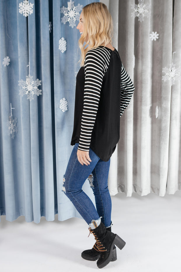 The Striped Sleeves Top - Women's Clothing AfterPay Sezzle KanCan Judy Blue Simply Sass Boutique