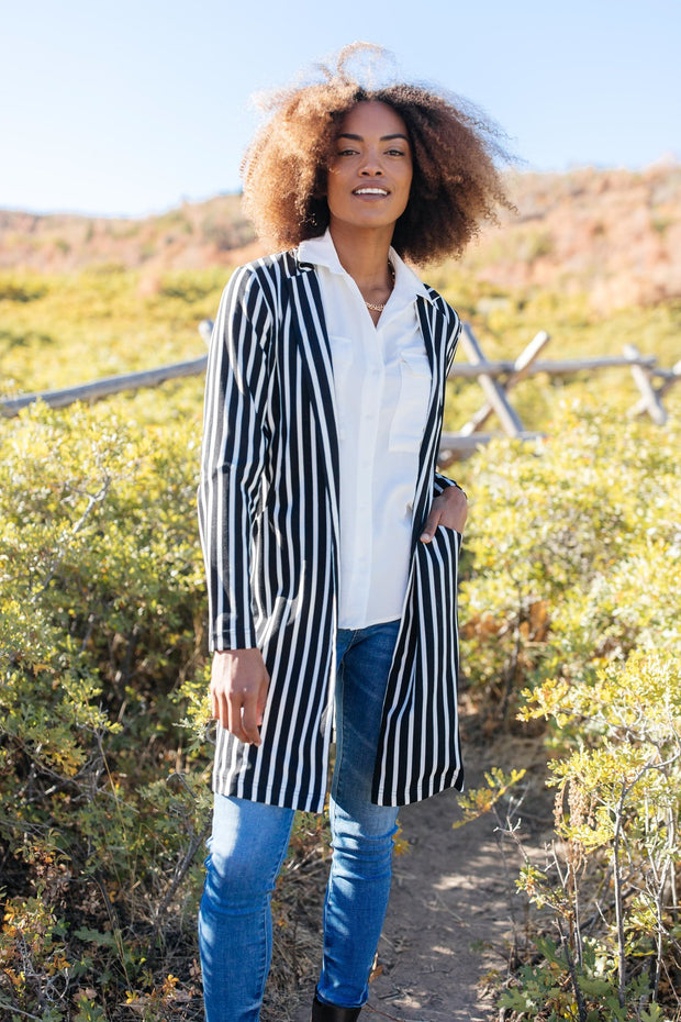 The Tall Stripes Jacket - Women's Clothing AfterPay Sezzle KanCan Judy Blue Simply Sass Boutique