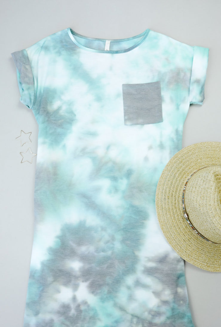 Tie Dyed Comfort T-Shirt Dress In Mint - Women's Clothing AfterPay Sezzle KanCan Judy Blue Simply Sass Boutique