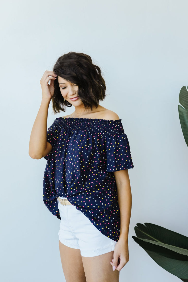 Tiny Twinkling Top In Navy - Women's Clothing AfterPay Sezzle KanCan Judy Blue Simply Sass Boutique