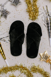 Toasty But Mostly Cozy Black Slippers - Women's Clothing AfterPay Sezzle KanCan Judy Blue Simply Sass Boutique