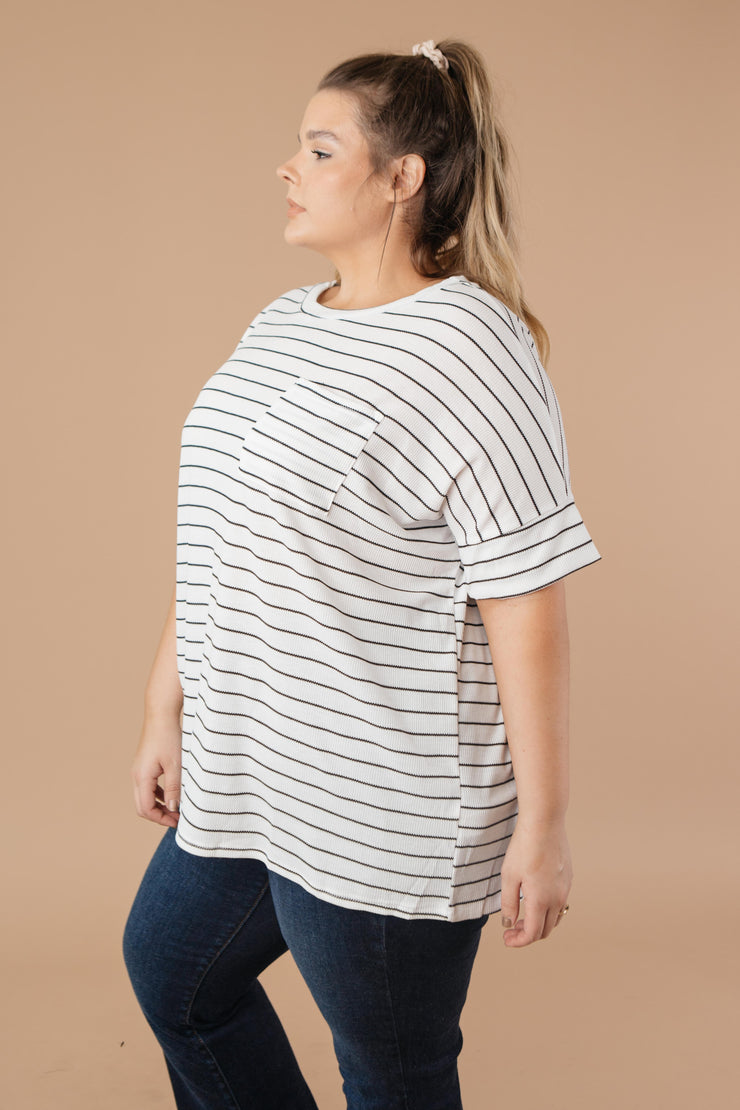 Tow The Line Striped Tee In Off White - Women's Clothing AfterPay Sezzle KanCan Judy Blue Simply Sass Boutique