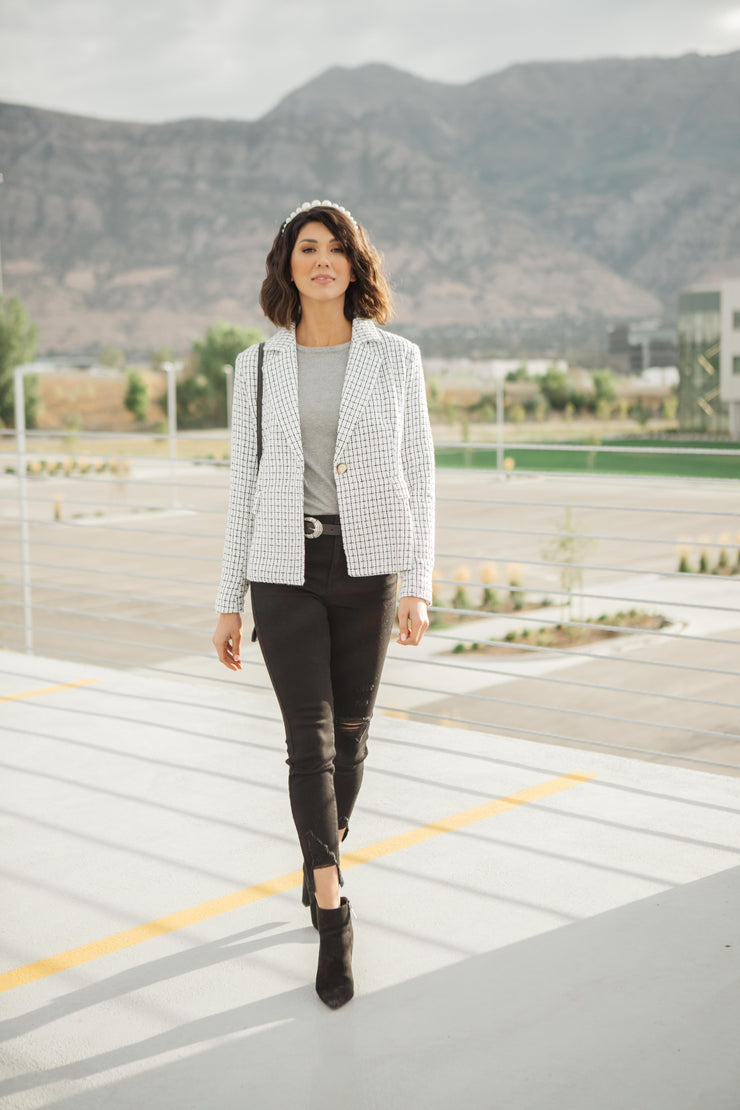 Tweedle Dee-lightful Tweed Blazer In Ivory - Women's Clothing AfterPay Sezzle KanCan Judy Blue Simply Sass Boutique