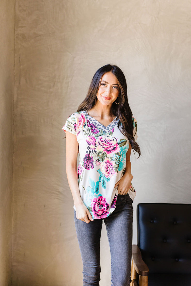 Unexpected Flowers V-Neck Top - Simply Sass Boutique