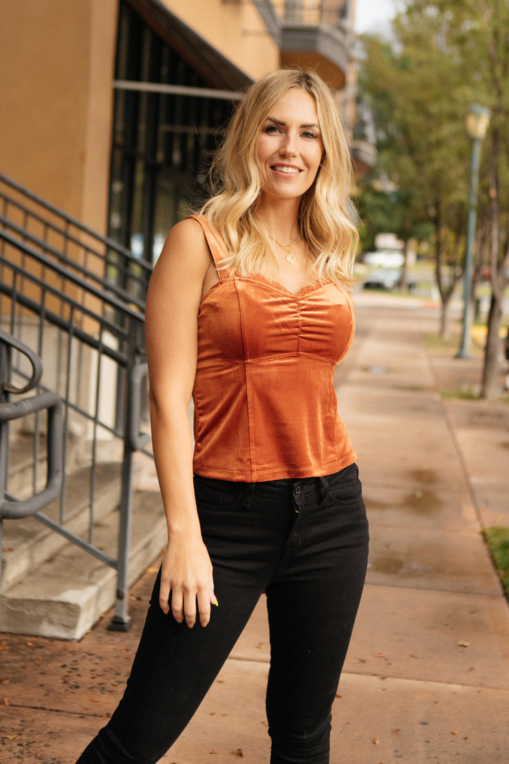 Velvet Vixen Camisole In Burnt Orange - Women's Clothing AfterPay Sezzle KanCan Judy Blue Simply Sass Boutique
