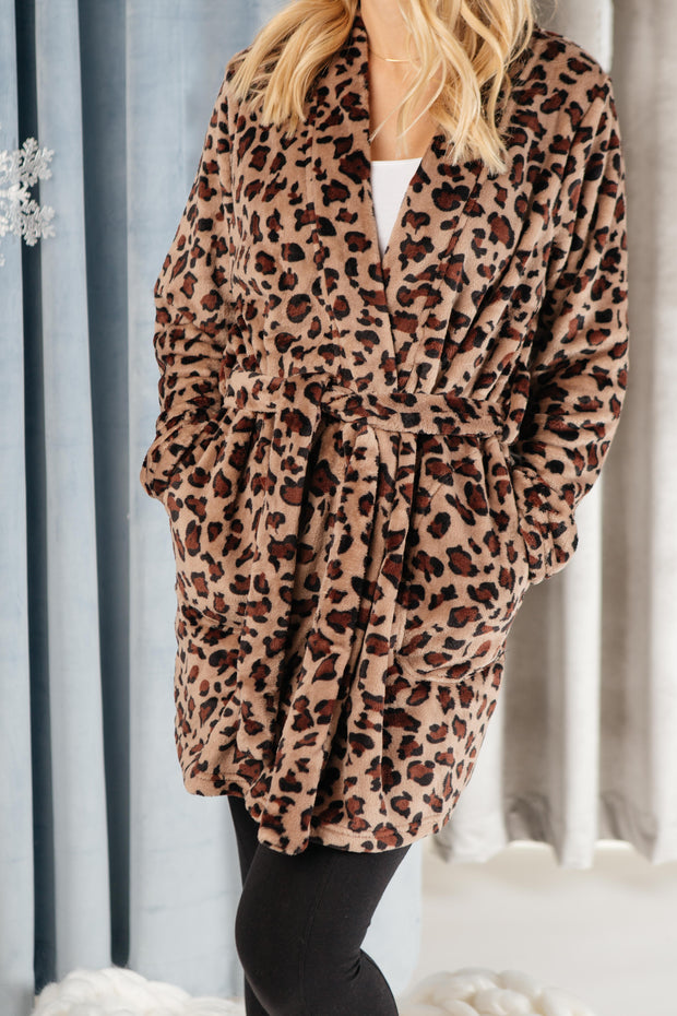 You Time Robe in Leopard - Women's Clothing AfterPay Sezzle KanCan Judy Blue Simply Sass Boutique