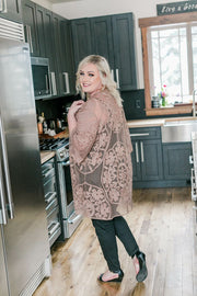 All Dolled Up Lace Cardigan In Mocha