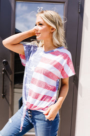 American Pride Tie Front Top - Women's Clothing AfterPay Sezzle KanCan Judy Blue Simply Sass Boutique