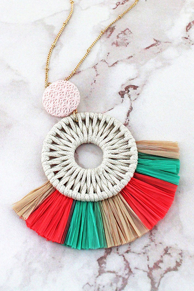 Green Multicolor Raffia Circle Fan Pendant Necklace - Women's Clothing AfterPay Sezzle KanCan Judy Blue Simply Sass Boutique