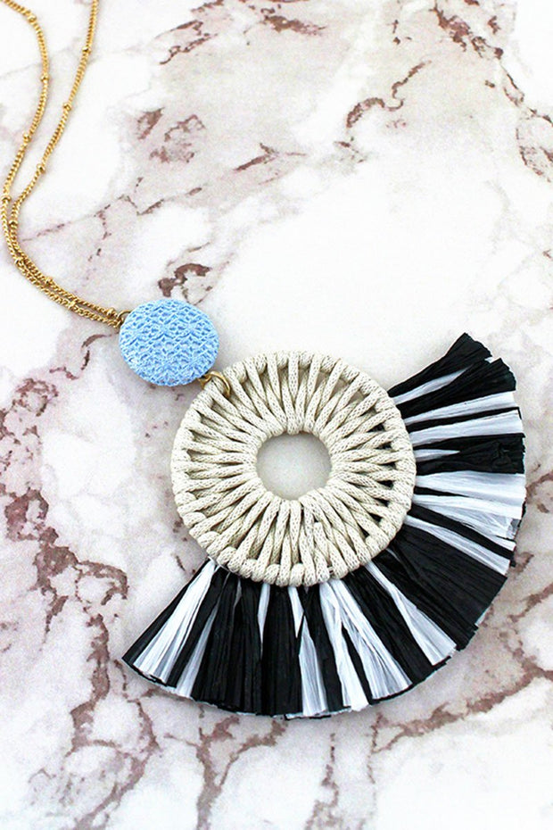 Black and White Raffia Circle Fan Pendant Necklace - Women's Clothing AfterPay Sezzle KanCan Judy Blue Simply Sass Boutique