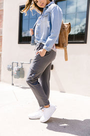 Athleisure Cargo Joggers In Slate - Women's Clothing AfterPay Sezzle KanCan Judy Blue Simply Sass Boutique