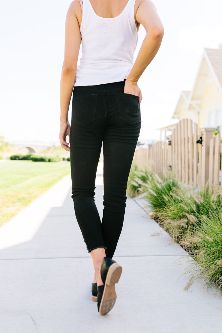Back To Black Ripped Knee KanCan Skinny Jeans - Women's Clothing AfterPay Sezzle KanCan Judy Blue Simply Sass Boutique