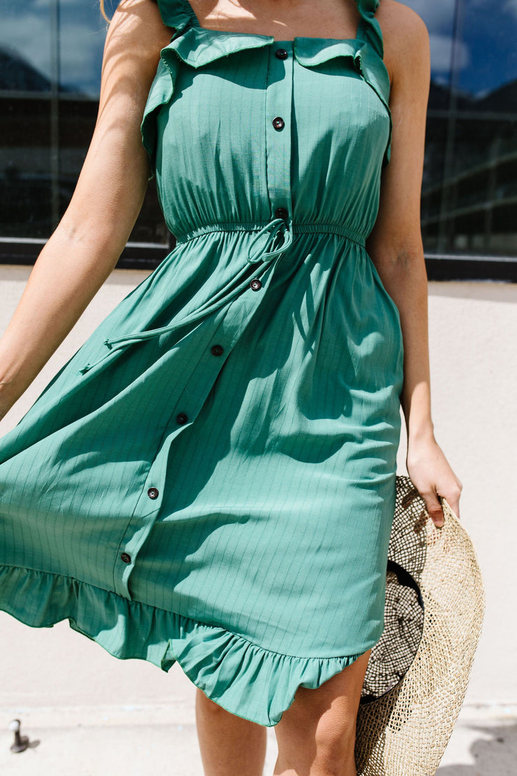 Barely Ruffled Green Sun Dress - Women's Clothing AfterPay Sezzle KanCan Judy Blue Simply Sass Boutique