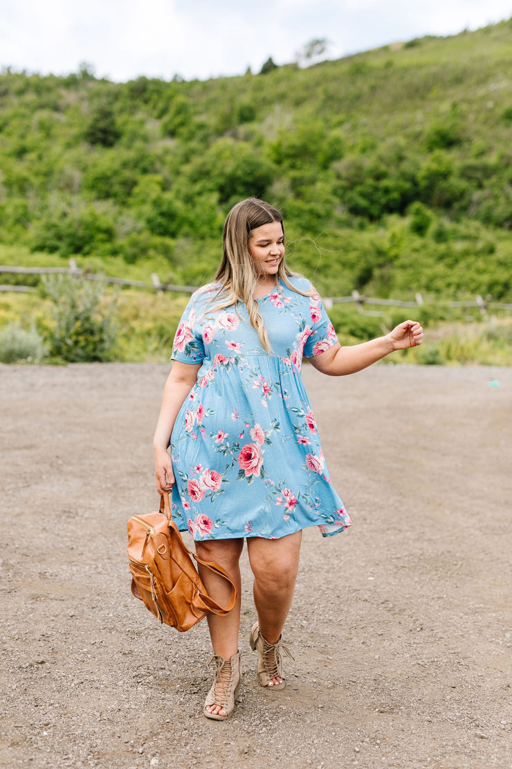 Be A Doll Floral Dress In Dusty Blue - Simply Sass Boutique