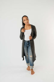 Between Seasons Cardigan In Charcoal - Women's Clothing AfterPay Sezzle KanCan Judy Blue Simply Sass Boutique