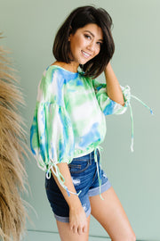 Bishop Sleeve Boho Crop Top In Turquoise & Mint - Women's Clothing AfterPay Sezzle KanCan Judy Blue Simply Sass Boutique