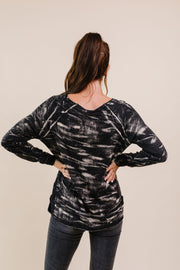 Black Cloud Tie Dye Pullover - Women's Clothing AfterPay Sezzle KanCan Judy Blue Simply Sass Boutique