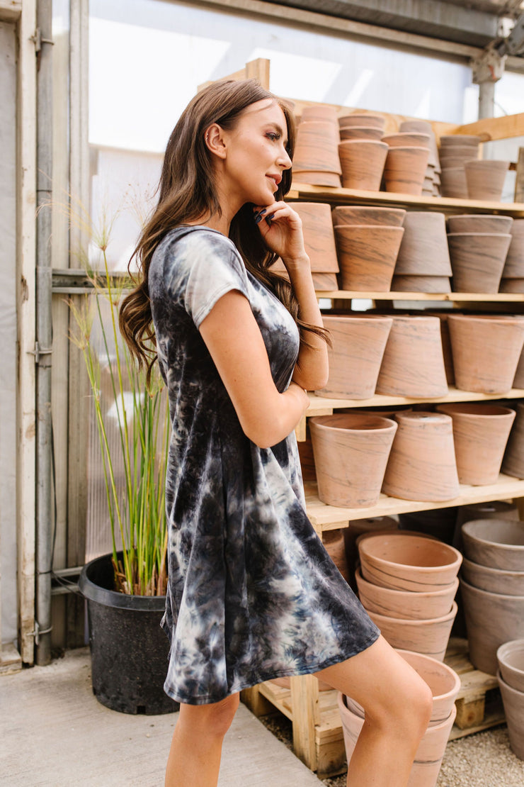 Black Sea Tie Dye T-Shirt Dress - In House - Simply Sass Boutique