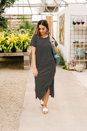 Black Stripes No Gripes Dress - Women's Clothing AfterPay Sezzle KanCan Judy Blue Simply Sass Boutique