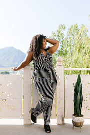 Black & White Striped Surplice Jumpsuit - Simply Sass Boutique
