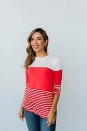 Block Talk Top In Red - Women's Clothing AfterPay Sezzle KanCan Judy Blue Simply Sass Boutique