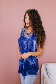 Blue Waters CrissCross Tie Dye Tank - In House - Women's Clothing AfterPay Sezzle KanCan Judy Blue Simply Sass Boutique