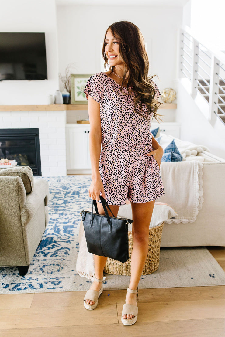 Blushing Leopard Romper - Women's Clothing AfterPay Sezzle KanCan Judy Blue Simply Sass Boutique