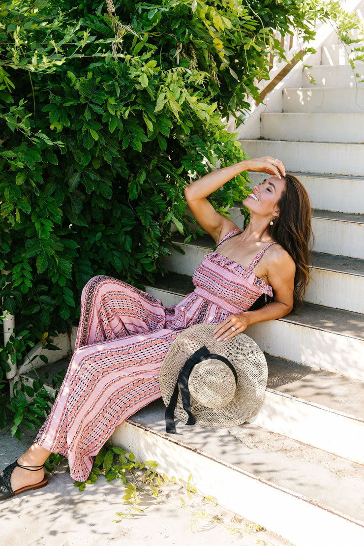 Boho Smocked Jumpsuit In Mauve - Simply Sass Boutique