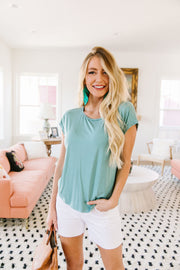 Braided Trim Turquoise Top - Women's Clothing AfterPay Sezzle KanCan Judy Blue Simply Sass Boutique