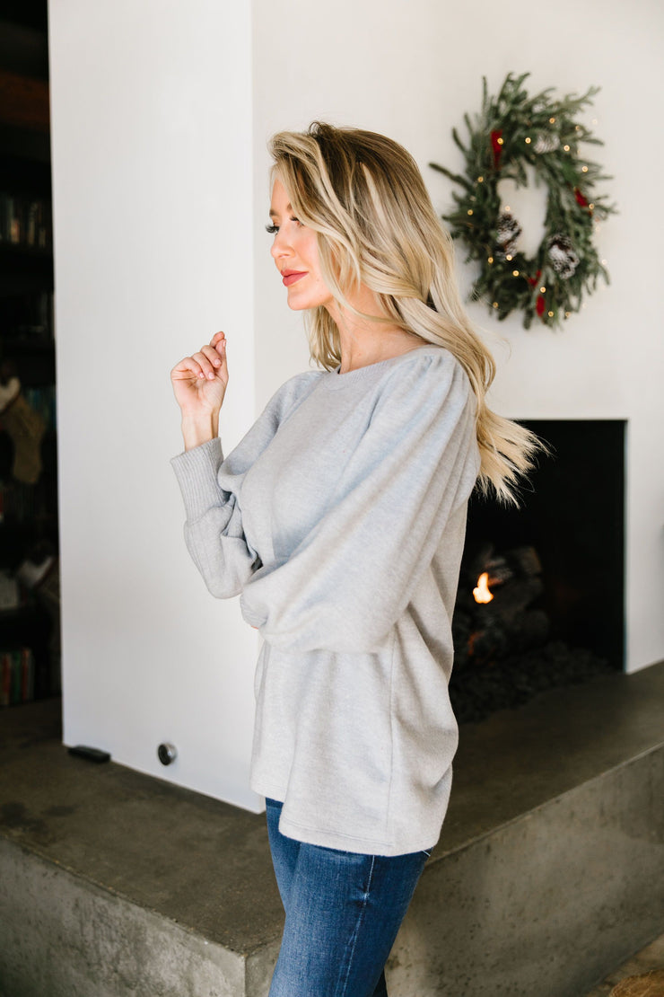 Brushed Knit Bubble Sleeve Blouse - Women's Clothing AfterPay Sezzle KanCan Judy Blue Simply Sass Boutique