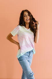 Burnout Pastel Striped V-Neck - Women's Clothing AfterPay Sezzle KanCan Judy Blue Simply Sass Boutique