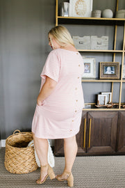 Buttoned To A T-Shirt Dress In Pink - Women's Clothing AfterPay Sezzle KanCan Judy Blue Simply Sass Boutique