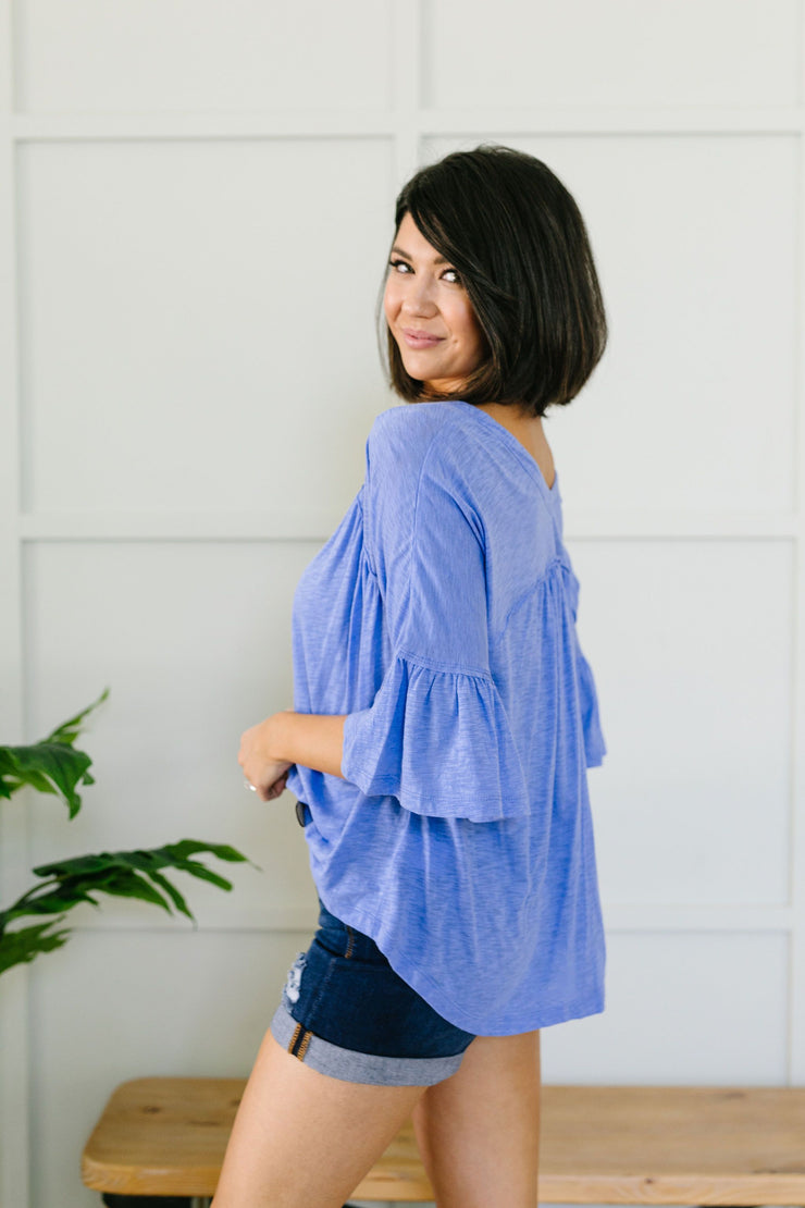 Buttons & Ruffles Top - Women's Clothing AfterPay Sezzle KanCan Judy Blue Simply Sass Boutique