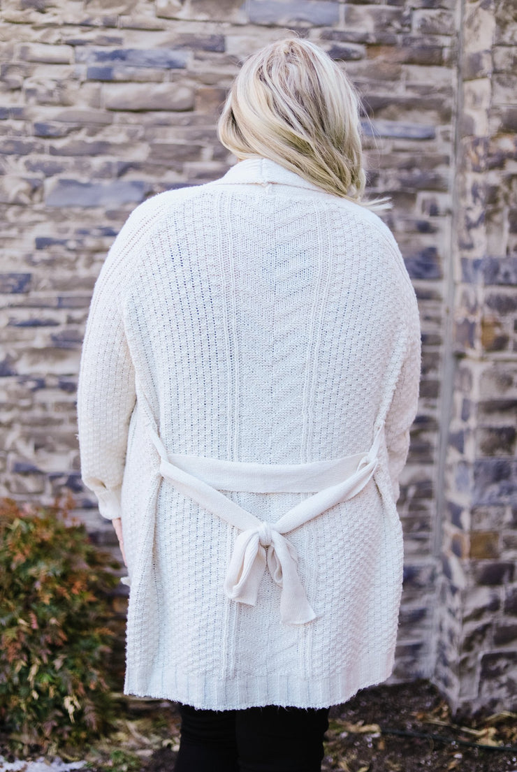 Cable Knit Belted Cardigan In Cream - Women's Clothing AfterPay Sezzle KanCan Judy Blue Simply Sass Boutique