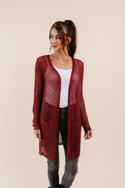 Cast Your Net Cardigan In Deep Rust - Women's Clothing AfterPay Sezzle KanCan Judy Blue Simply Sass Boutique
