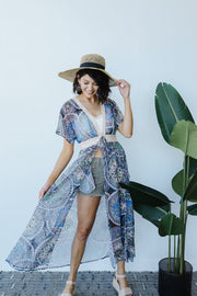 Chiffon Medallions Long Kimono - Women's Clothing AfterPay Sezzle KanCan Judy Blue Simply Sass Boutique