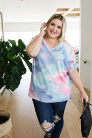 Clouds Of Blue & Pink Tie Dye Top - Women's Clothing AfterPay Sezzle KanCan Judy Blue Simply Sass Boutique