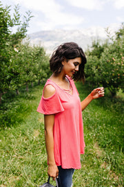 Cold Shoulder Crossed Heart Top In Coral - Simply Sass Boutique