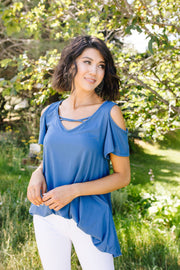 Cold Shoulder Crossed Heart Top In Denim - Women's Clothing AfterPay Sezzle KanCan Judy Blue Simply Sass Boutique