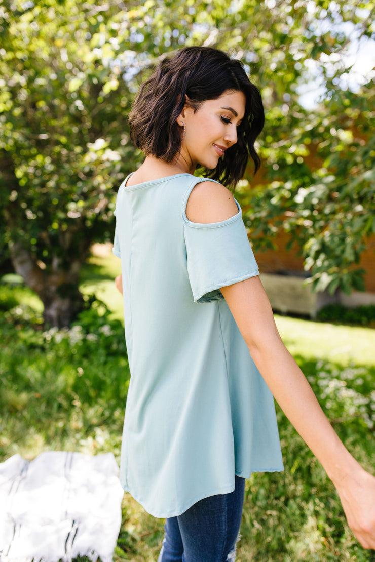 Cold Shoulder Crossed Heart Top In Sage - Women's Clothing AfterPay Sezzle KanCan Judy Blue Simply Sass Boutique