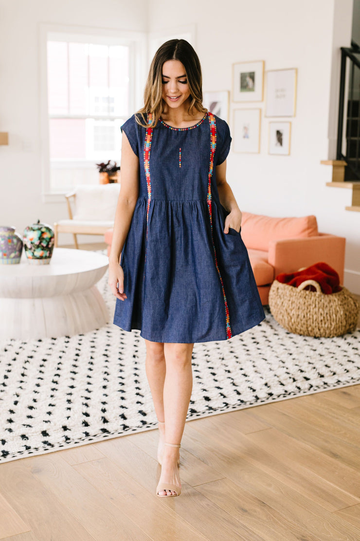 Come South Of The Border Denim Dress - Simply Sass Boutique